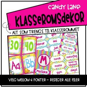 Klasseromsdekor med tallplakater, alfabetplakater, dagsplan og kalender i regnbuefarger