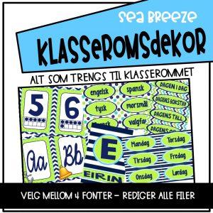 Klasseromsdekor med tallplakater, alfabetplakater, dagsplan og kalender i blått og grønt