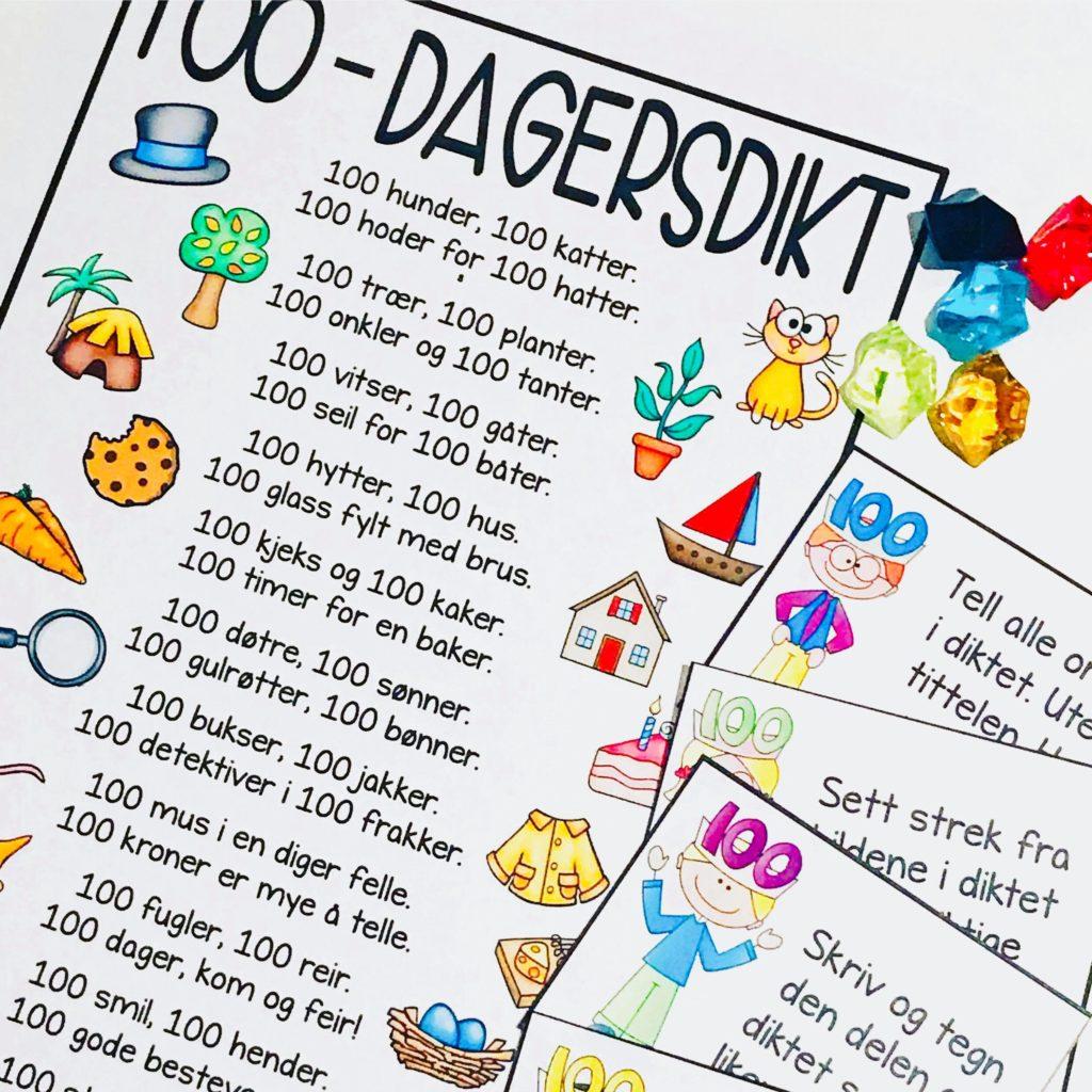 100 skoledager dikt