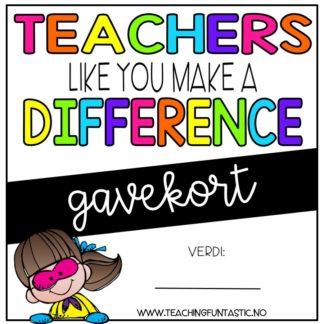 Kjøp et gavekort til en kollega på skole. Lærere kan bruke gavekort til å kjøpe undervisningsmateriell.