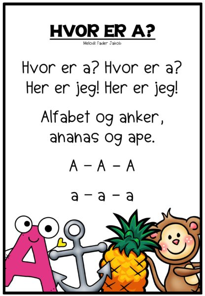 Plakater til utskrift med sang om hver vokal i alfabetet på norsk.