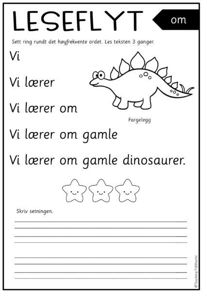 Lese ark med høyfrekvente ord som kan fremme leseflyt. 50 leseark med setningslesing.