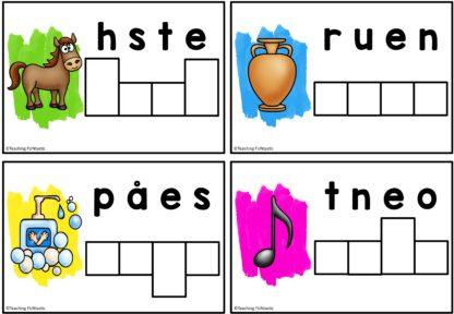 Stokk om bokstavene i alfabetet og sett sammen til ord. Øver staving av tre og firelydsord. Gir god stavetrening for 1.trinn og øver rettskriving.