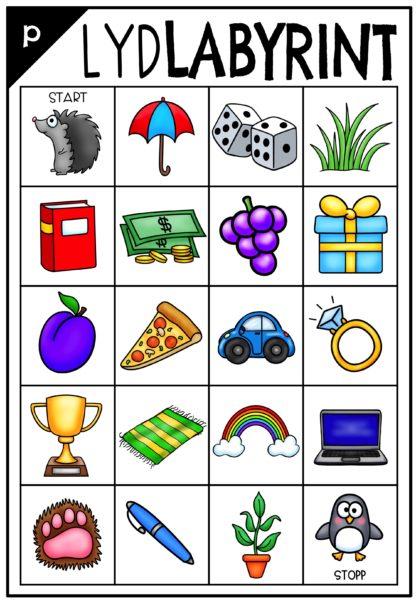 Lytt ut førstelyd i ord. Øv på bokstavene i alfabetet. Flytt gjennom bokstavlabyrinten fra start til slutt.