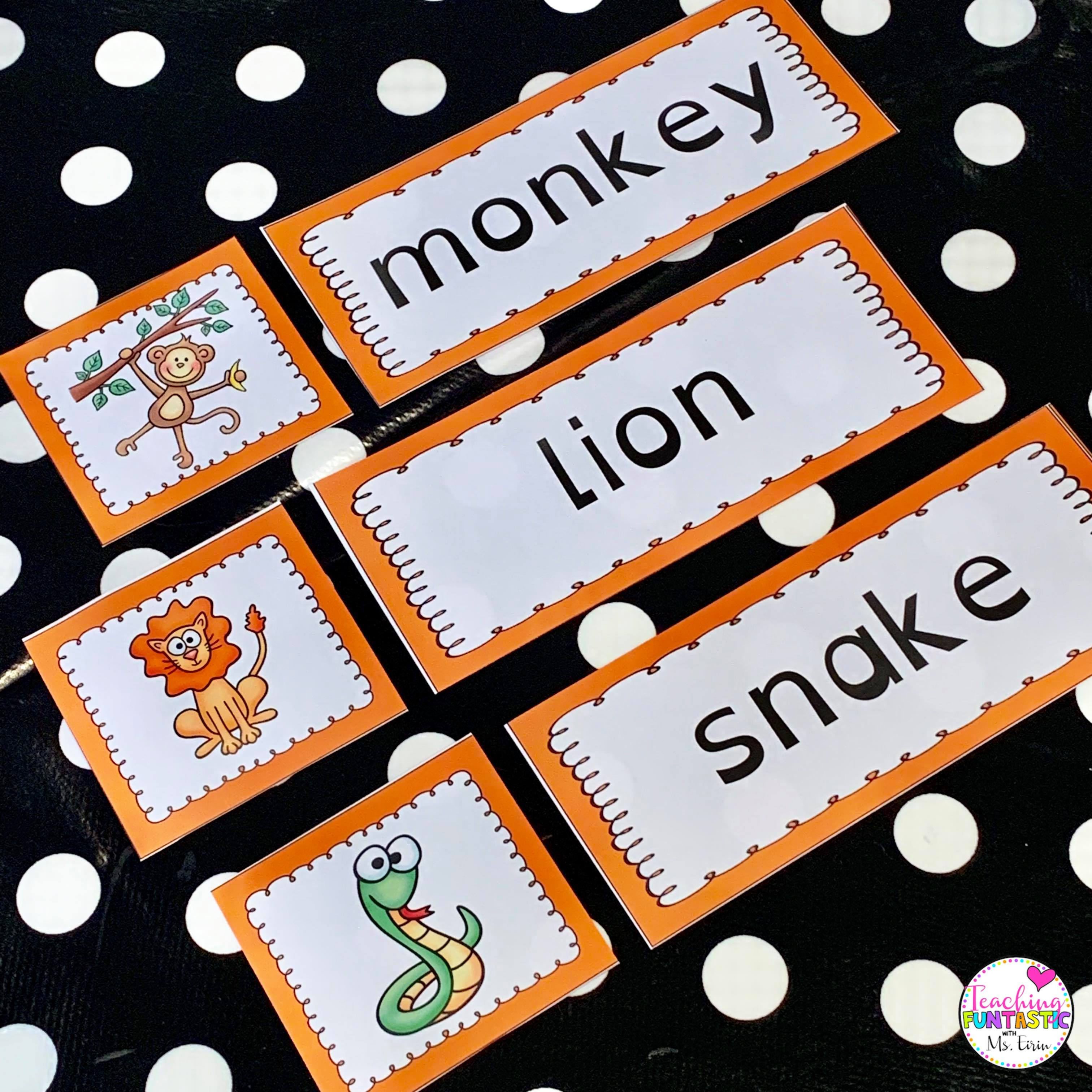 Sorteringskort der man matcher ord og bilde. Dyr på engelsk.