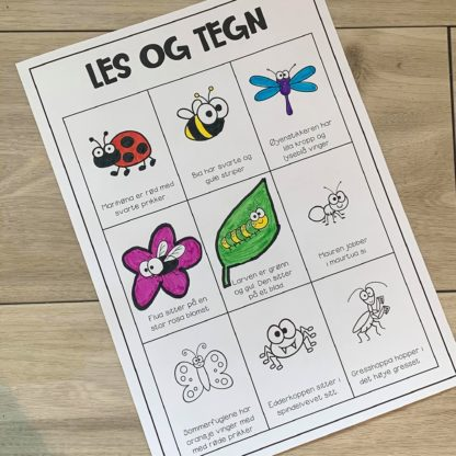 Les og tegn leseforståelse om insekter og småkryp