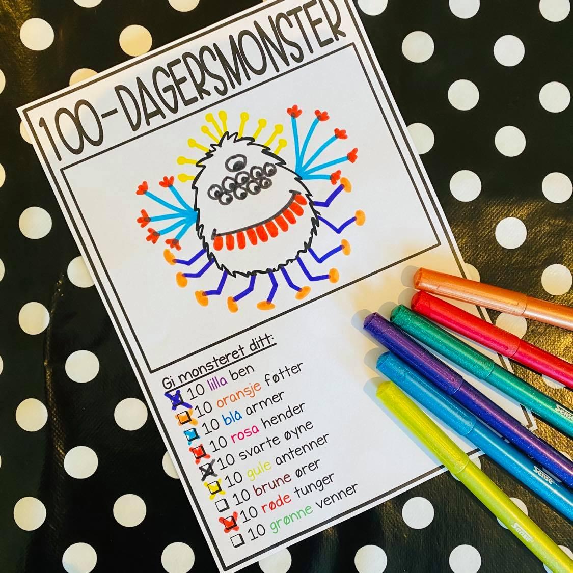 100 skoledager tegne
