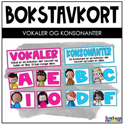 Bokstavkort vokaler og konsonanter