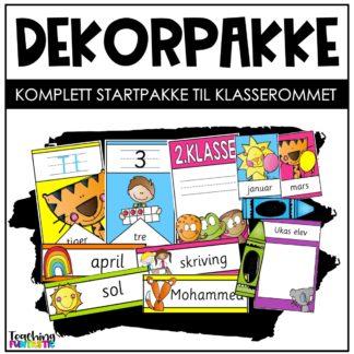 Dekorpakke klasserom førsteklasse fargerik