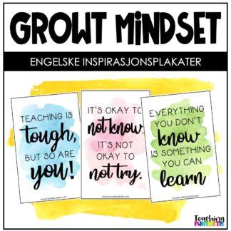 Plakater med inspirasjonsord skole growth mindset