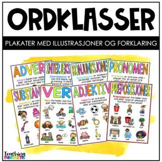 Plakater med ordklasser