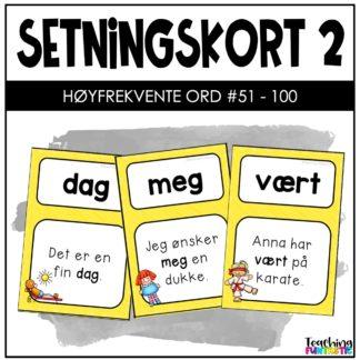 Setningskort med høyfrekvente ord 2