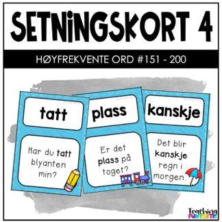 Setningskort med høyfrekvente ord 4