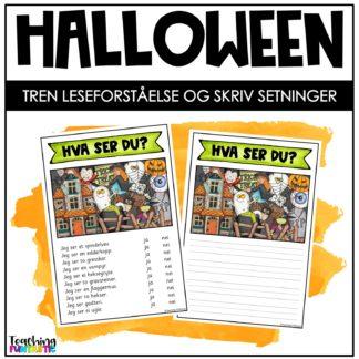Leseoppgave Halloween med skrivemal